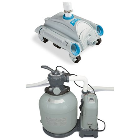 Intex Krystal Clear Saltwater System Sand Filter Pump & Automatic Vacuum Set Duo Clear Salt System