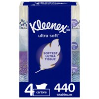 Kleenex Ultra Soft Facial Tissues, 4 Flat Boxes, 110 Tissues per Box (440 Tissues Total)