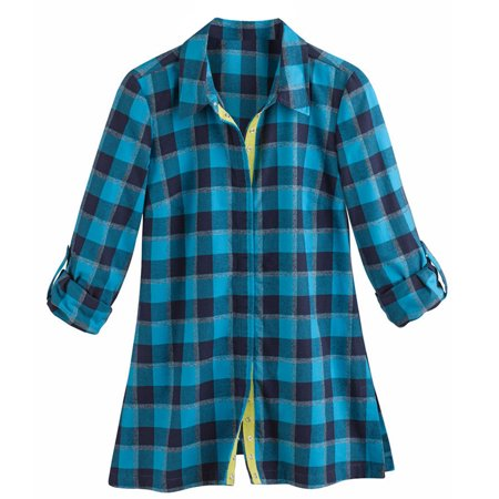 Women 39 s tunic top new blue plaid button down flannel for Women s plaid button down shirts