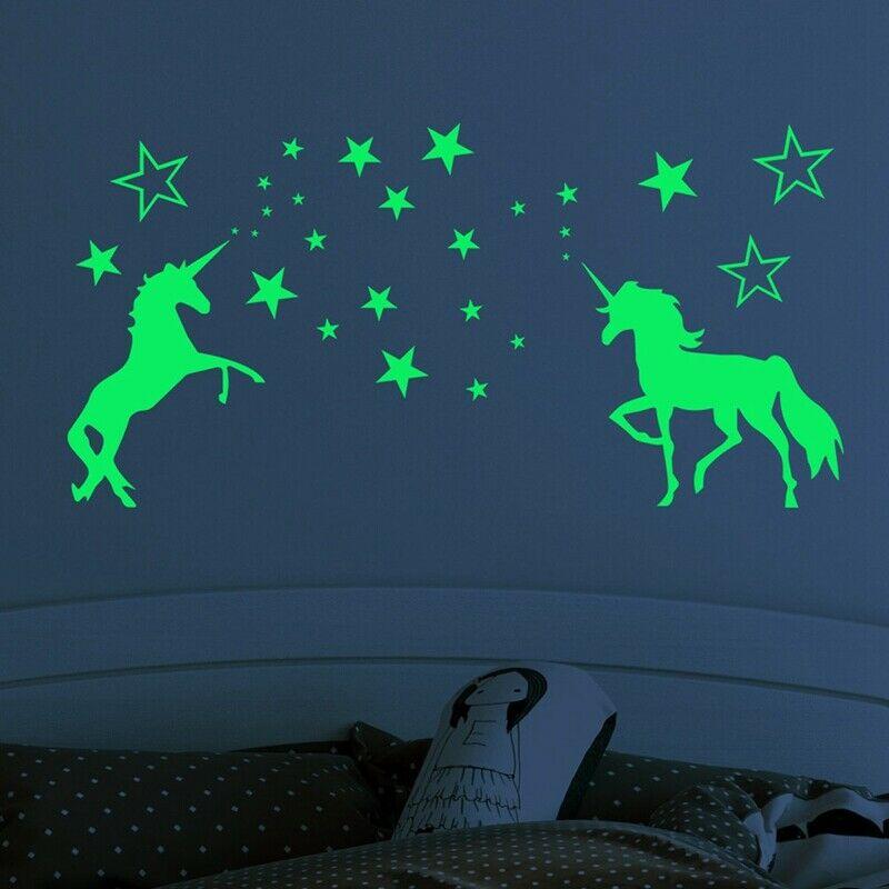 Colourful Patterned Unicorn /& Stars Wall Art Vinyl Sticker Bedroom Transfer