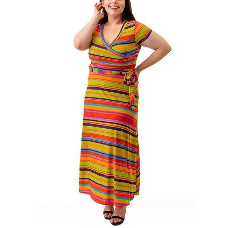 Ella Samani Women\'s Plus Size Maxi Wrap Dress