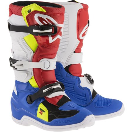 Alpinestars Tech 7S Youth Boots Blue/White/Red/Yellow (Blue, 8) Alpinestars Tech 6s Youth Boots