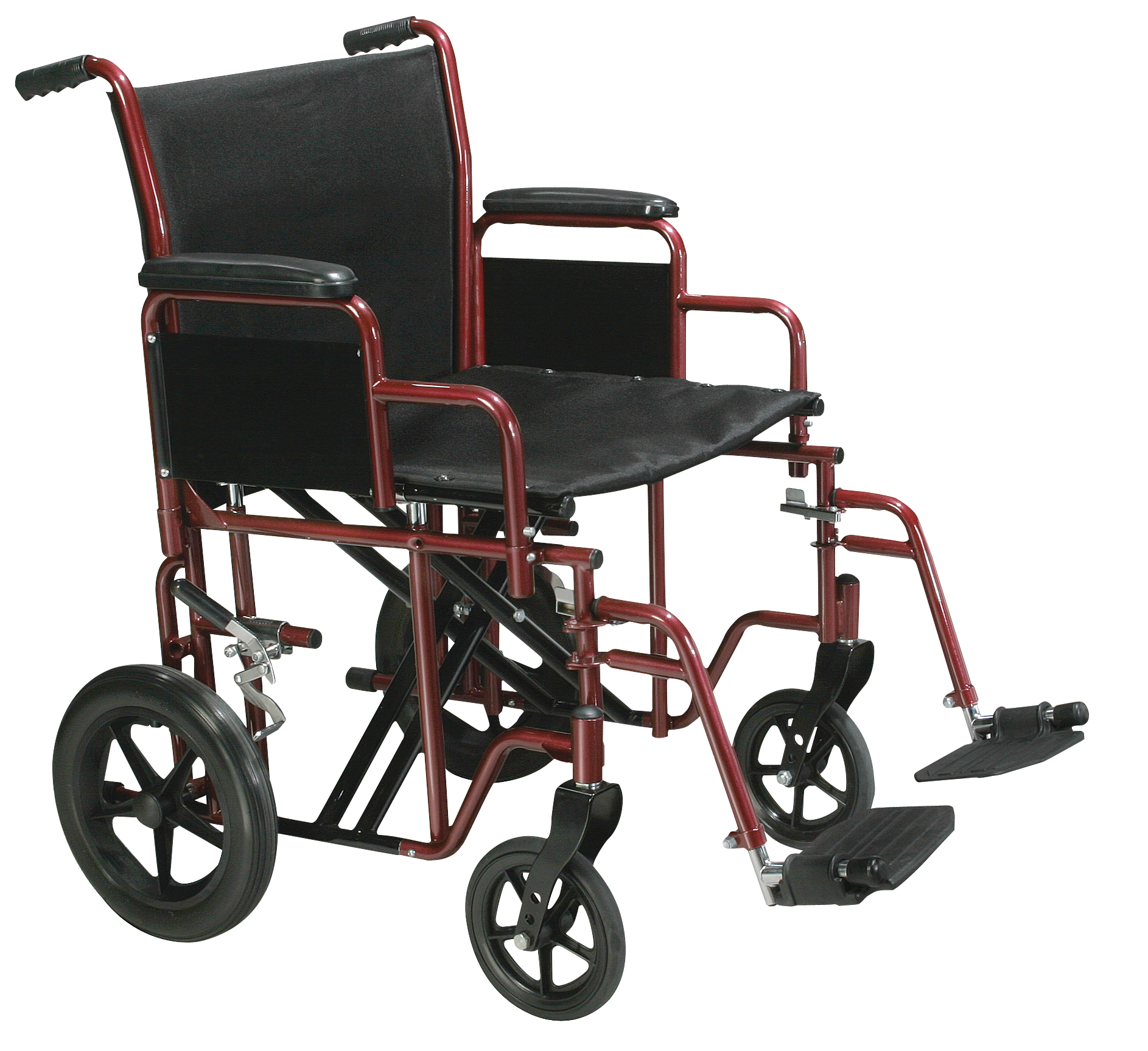 """Drive Medical Bariatric Heavy Duty Transport Wheelchair with Swing Away Footrest, 22"""" Seat, Red"""