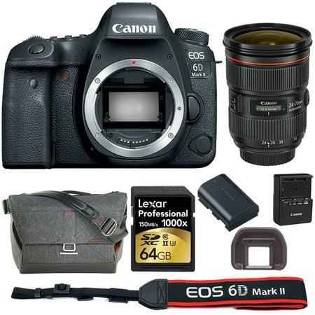 "Canon EOS 6D Mark II 26.2MP Full-Frame DSLR Camera (1897C002 )with EF 24-70mm f/2.8L II USM Lens + 64GB Professional SDHC/SDXC Class 10 UHS-II Memory Card + 15"" DSLR Camera Messenge Bag"