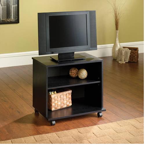 "Mainstays TV Cart for Flat Screen TVs up to 26"", True Black Oak finish"