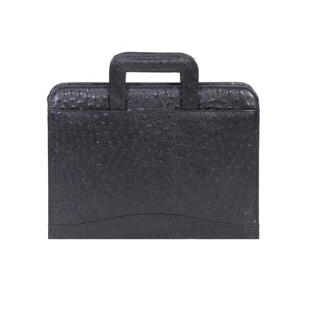 Scully Women's 96Z Black Ostrich Leather Durable Work Legal 3 Ring Zip Binder (Black Ostrich)