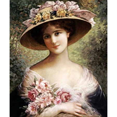 The Fancy Bonnet Stretched Canvas - Emile Vernon (20 x 24)