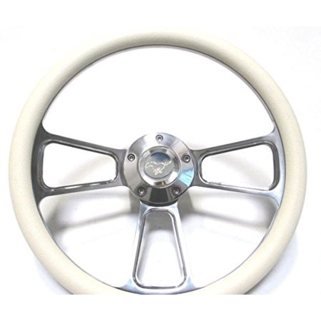 1965 1966 1967 1968 1969 Ford Mustang White Steering Wheel, Horn & Adapter ()