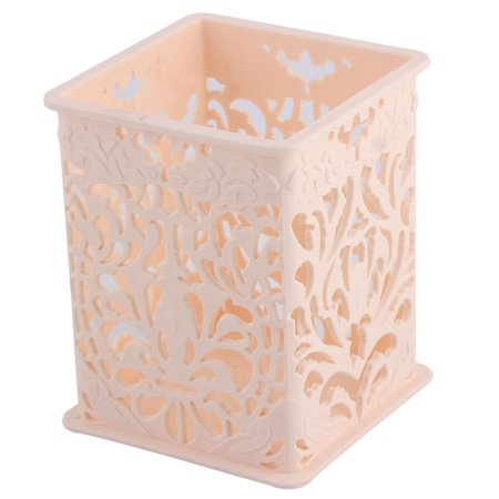 Deep Rectangle Tabletops - Household Office Plastic Rectangle Tabletop Decor Pencil Pen Holder Light Pink