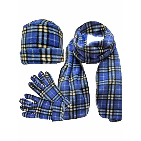 Blue & White Plaid Fleece 3 Piece Hat Scarf & Glove Set](Long Blue Satin Gloves)