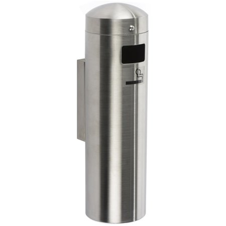 Displays2go Self-Extinguishing Smokers Disposal, Top Lid Safety Chain, Stainless Steel (Trash Can Smokers)