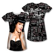 Bettie Page - Wall Of Words (Front/Back Print) - Juniors Cap Sleeve Shirt - XX-Large