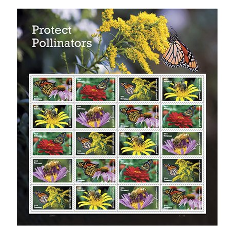 Protect Pollinators Sheet of 20 Forever USPS First Class one Ounce Postage Stamps Environment Wedding - Party Postage Stamp