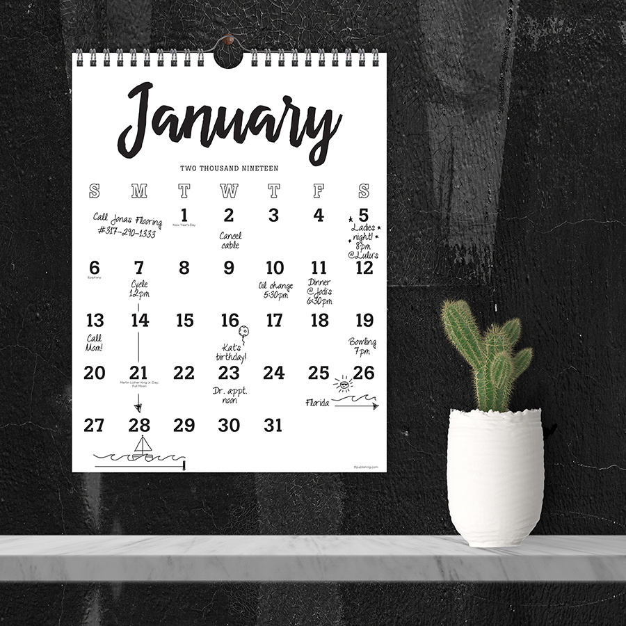 "2019 Black & White Script July 2018 - June 2019 Academic Year 11""x8.5"" Monthly Wall Calendar"