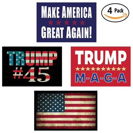 Pro Trump & American Flag Hard Hat & Helmet Stickers: 4 Decal Value Pack. Great for a Motorcycle Biker Helmet, Construction Toolbox, Hardhat, Mechanic Shop & More. Great Gift for (Fame Pro Helmet)