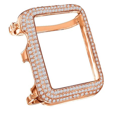 Antique Sterling Rose Gold Watch (High Quality Series # 1 Real Sterling Silver Apple Watch Custom Bezel Insert Rose Gold Tone Lab Diamond Cover Case)