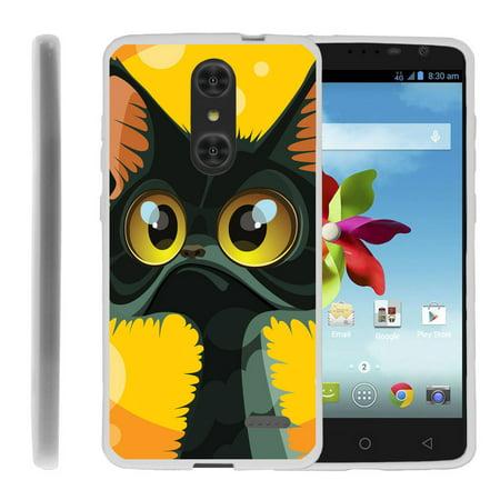 ZTE Grand X4 Z956 Flex Force Flexible Slim Durable Bumper Case with Unique Designs - Big Eyed Cat (Slim Cat Eye Sonnenbrille)