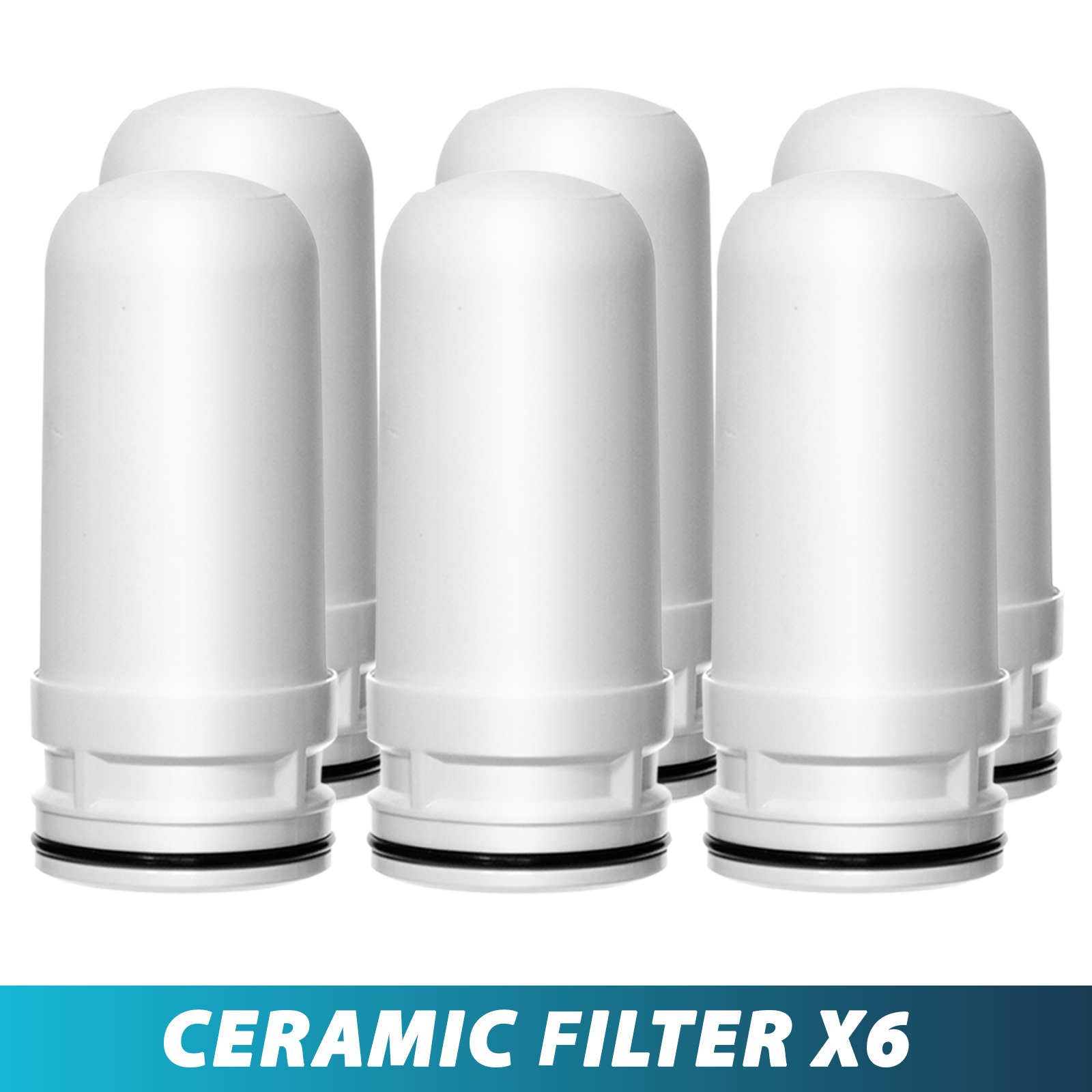 Ceramic Replacement Cartridge for LittleWell Faucet Mount Water Filters DFC1, DFW1, DFW2 (Pack of 6)