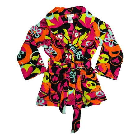 I heart Tweenklz - Little Girls Plush Bathrobe black owls /