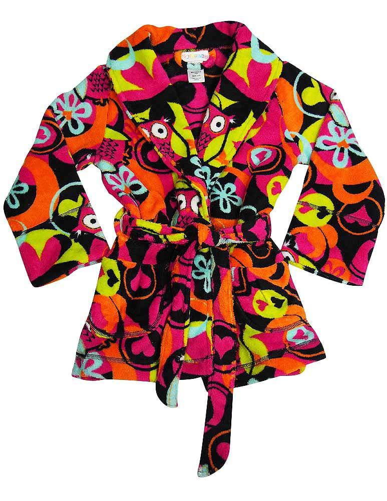 I heart Tweenklz - Little Girls Plush Bathrobe black owls / 4/5