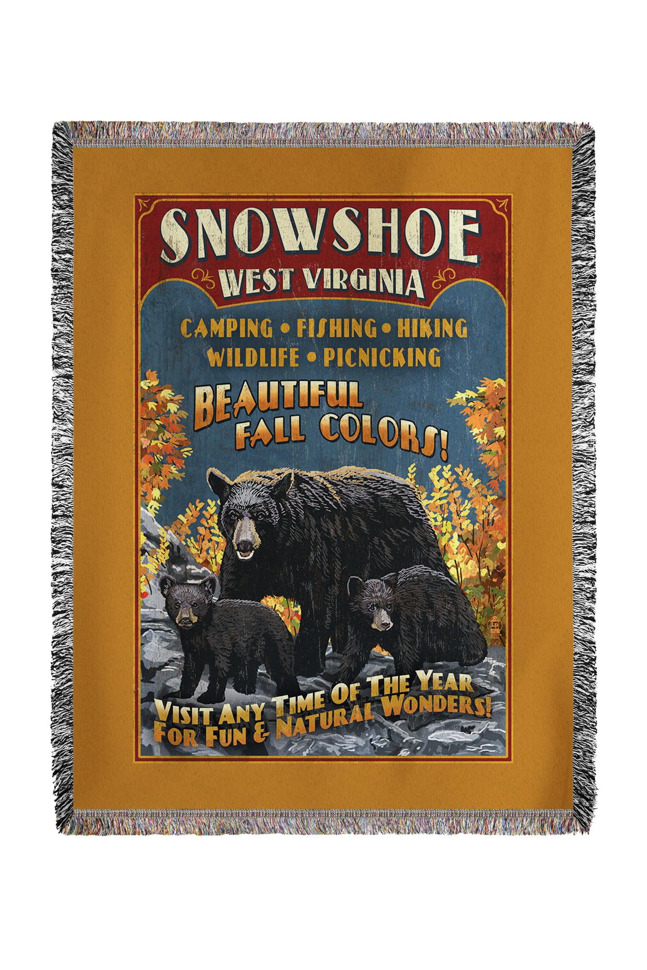 Snowshoe, West Virginia Black Bear Vintage Sign Lantern Press Poster (60x80 Woven Chenille Yarn Blanket) by Lantern Press