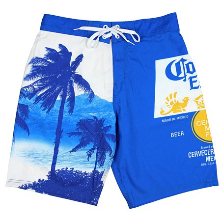 d0ef809aa3d09 Bioworld - Corona Extra Bottle Label & Palm Trees Men's Blue Swim ...
