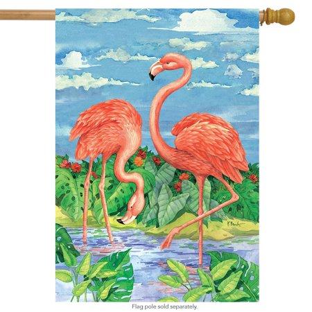 "bamboo flamingos summer house flag tropical birds 28"" x 40"" briarwood lane"