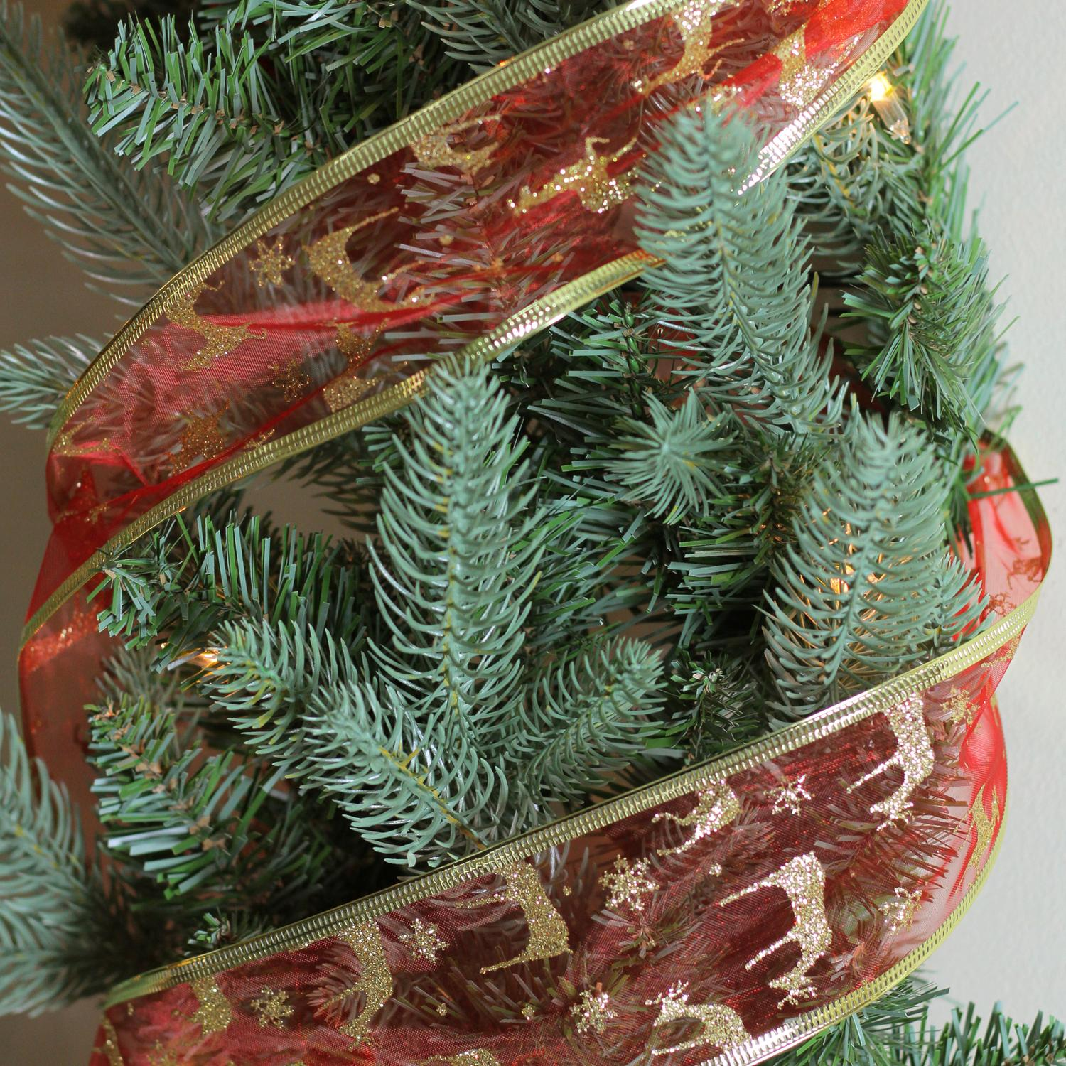 Red & Gold Reindeer Wired Christmas Craft Ribbon