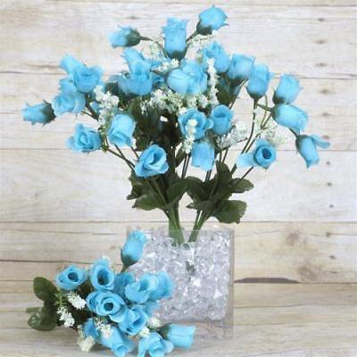 180 Artificial Silk Mini Rose Buds Wedding Bouquet Vase Center - Turquoise - Mini Bud Vases