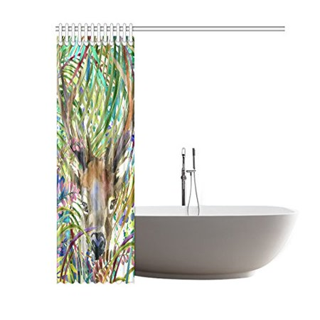GCKG Tropical Wildlife Animal Shower Curtain, Watercolor Forest Tree Deer Polyester Fabric Shower Curtain Bathroom Sets with Hooks 60x72 Inches - image 2 de 3