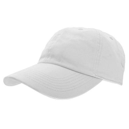 Falari Baseball Cap Hat 100% Cotton Adjustable Size - White Baseball Hat