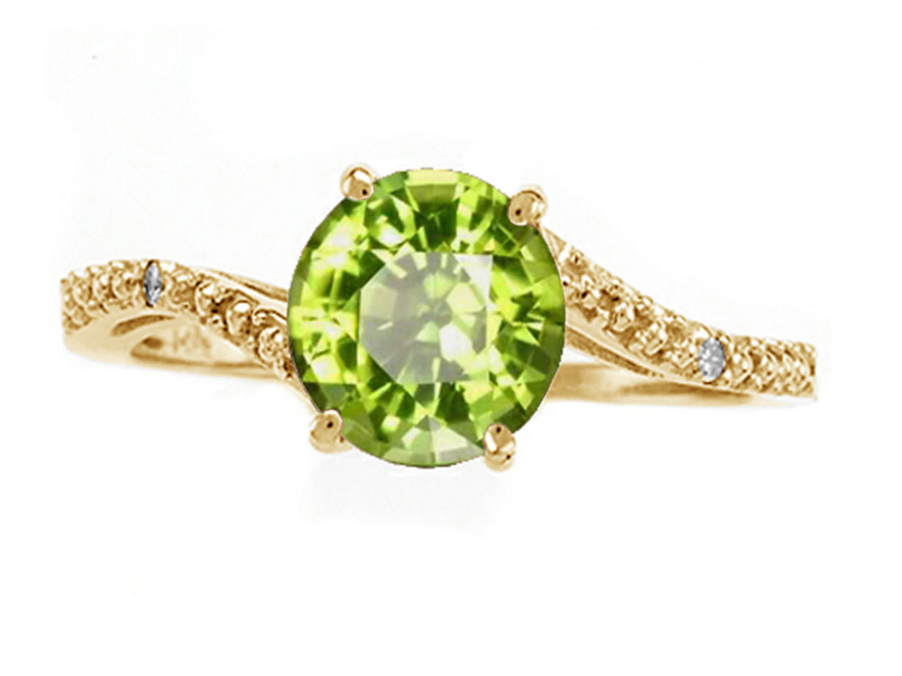 Tommaso Design Round 7mm Genuine Peridot s Bypass Ring by