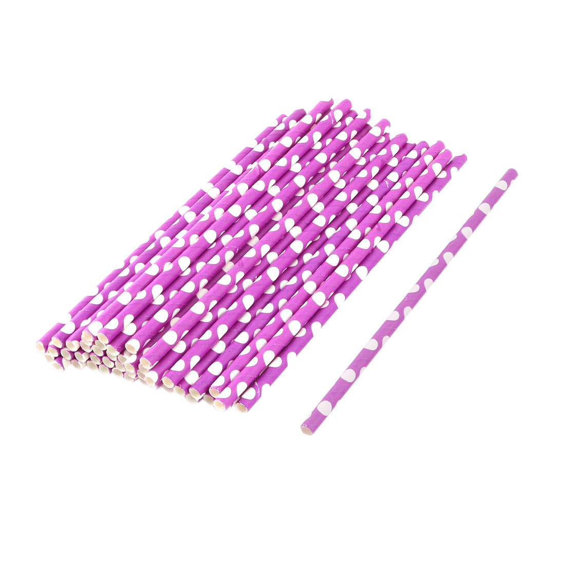 Home Paper Dots Pattern Coffee Juice Drinking Straws 50ct
