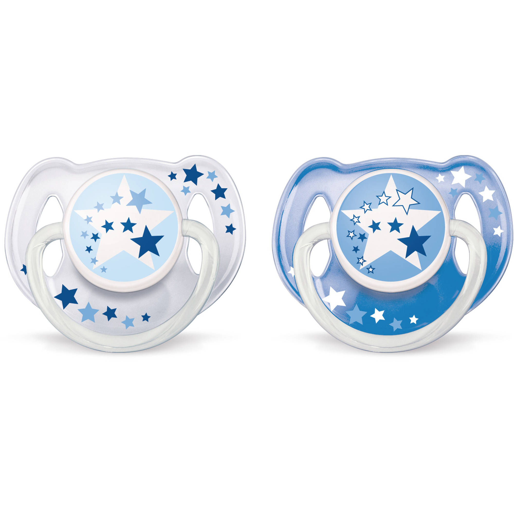 Philips Avent Glow in the Dark Orthodontic Pacifier, Toddler 6-18 Months, 2-Pack, Blue, BPA-Free