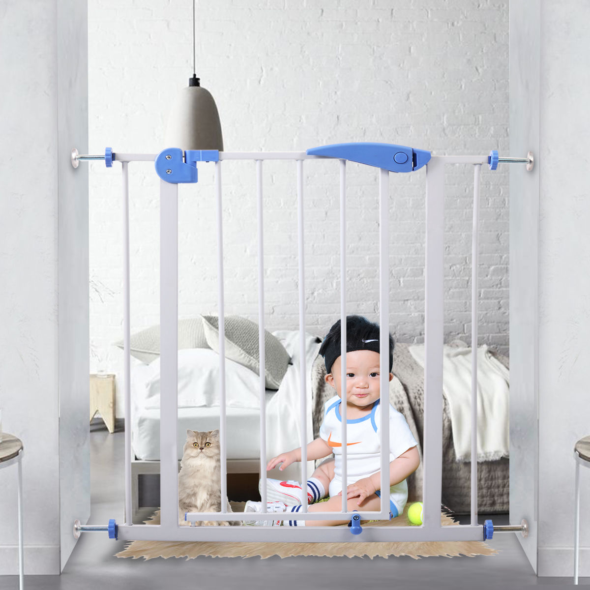 Lazymoon Baby Safety Gate Door Walk Through Child Toddler Pet Metal Easy Locking System