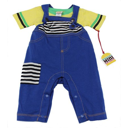 Blue Boys Overalls (Harajuku Boys Yellow T-Shirt with Blue Jean Overalls - Blue Yellow - 6M )