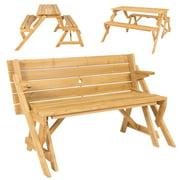 BCP Patio 2 in 1 Outdoor Interchangeable Picnic Table / Garden Bench Wood