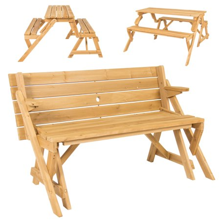 Wooden Picnic Table - BCP Patio 2 in 1 Outdoor Interchangeable Picnic Table / Garden Bench Wood