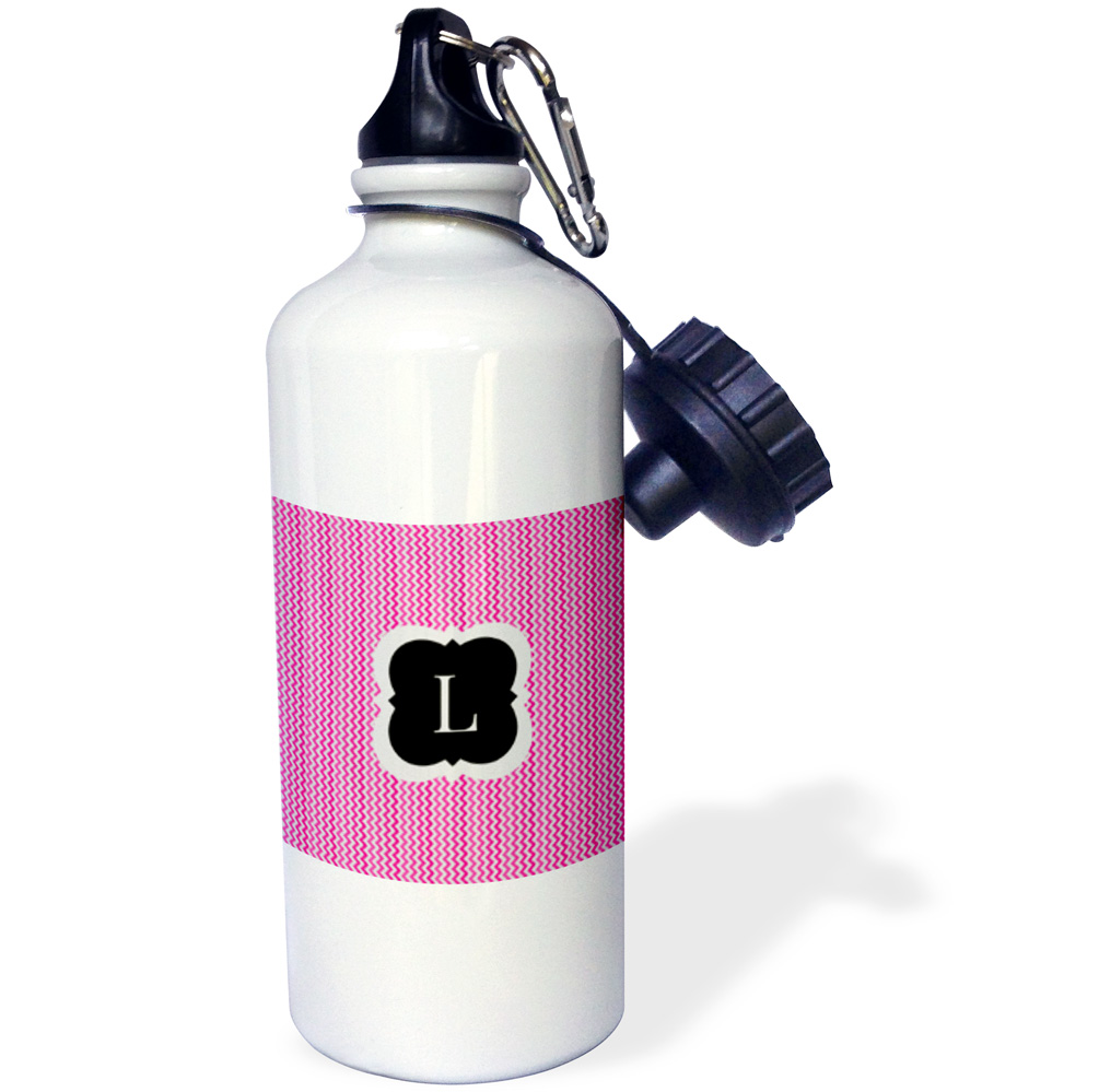 3dRose Pink and grey chevron monogram initial L, Sports Water Bottle, 21oz