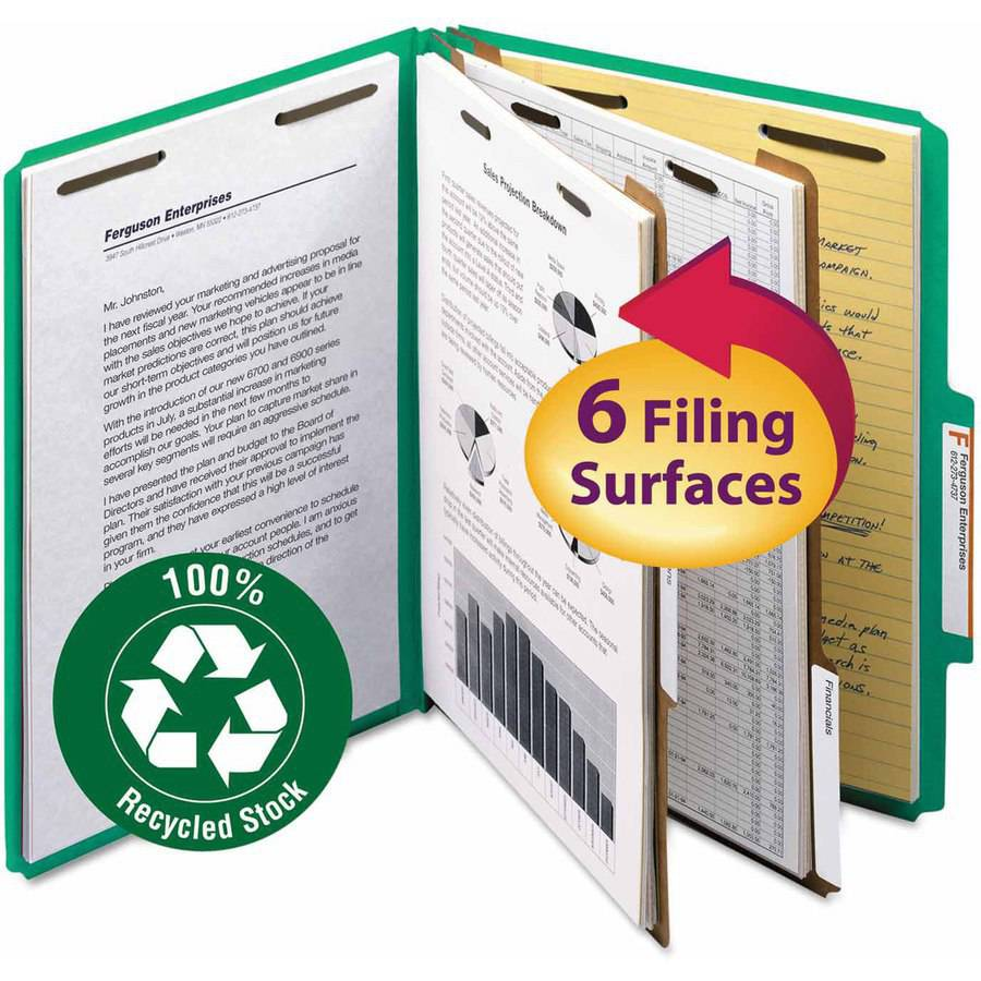 "Smead Pressboard Classification Folder, 2"" Expansion, 2 dividers, Letter, Green, 10/BX"