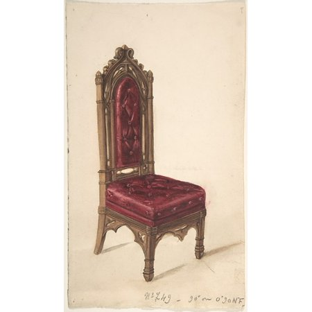 19th Century Print (Gothic Style Chair with Dark Wood Frame and Maroon Upholstery Poster Print by Anonymous British 19th century (18 x 24))