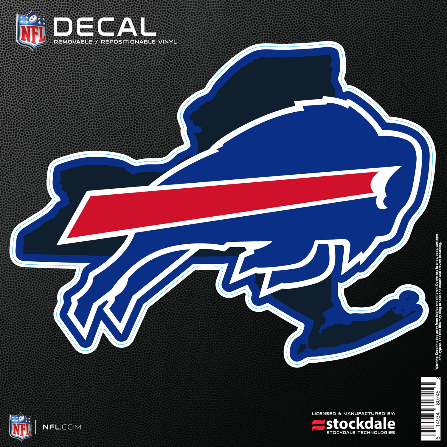 """Buffalo Bills 6"""" x 6"""" Repositionable State Shape Decal - No Size"""