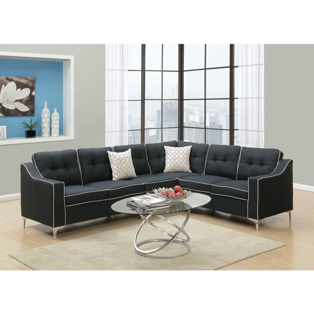 HomeRoots Plywood, Solid Pine, Meta Polyfiber Fabric 4 Pieces Sectional Set In Black With White Trim
