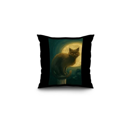 Black Cat - Halloween Oil Painting - Lantern Press Artwork (16x16 Spun Polyester Pillow, Black Border)](Halloween Rom)