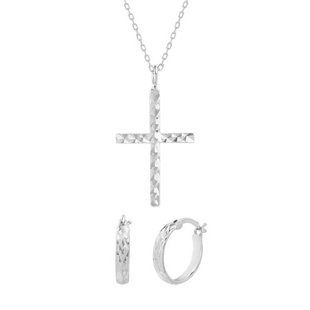 Sterling SIlver Diamond-Cut Hoop Earring and Cross Necklace (Happiness Cross Silver Set)