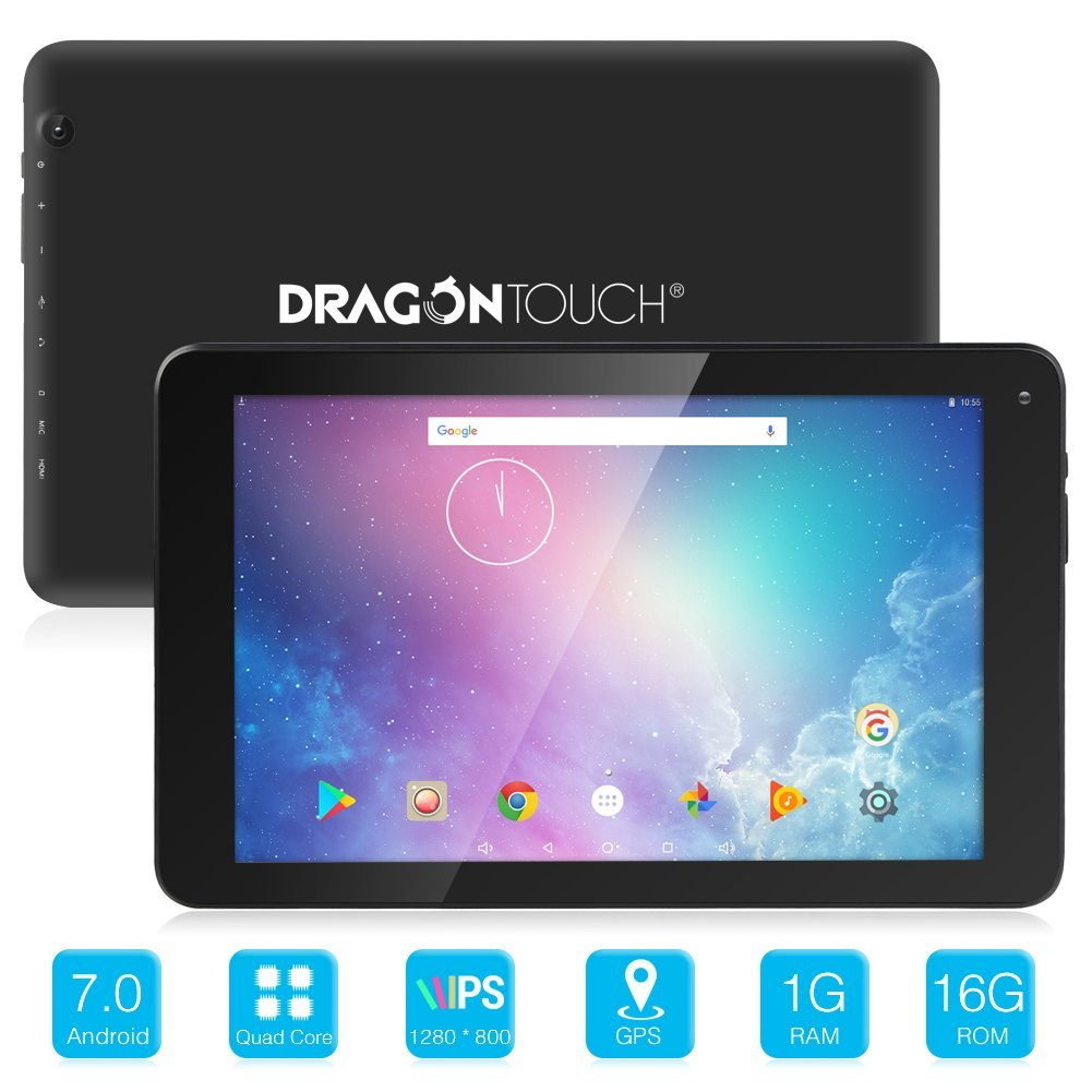 Dragon Touch V10 10 inch GPS/Wifi Android Tablet Android 7.0 Nougat MTK Quad Core 1GB RAM 16GB Storage,  With Bluetooth 4.0 and Mini HDMI 800x1280 IPS Display Tablet