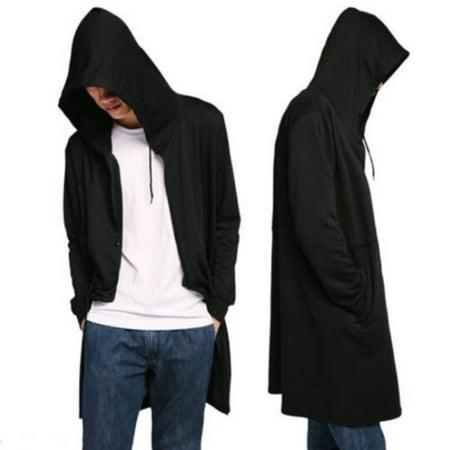 Men´s Fashion Sweatshirts Fashion Hip Hop Design Hooded Black Cloak Men Shawl Outwear Streetwear Coats ()