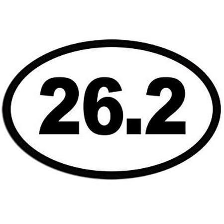 (WHITE Oval 26.2 Marathon Miles Sticker Decal (run runner running) 3 x 5 inch)