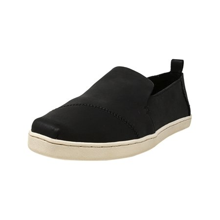 Toms Women's Deconstructed Alpargata Leather Black Ankle-High Slip-On Shoes - 9.5M