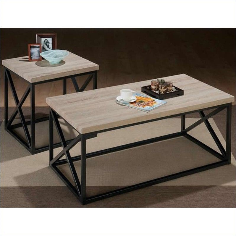 Jofran 3 Piece X-Side Occasional Table Set in Orion Ash by Jofran